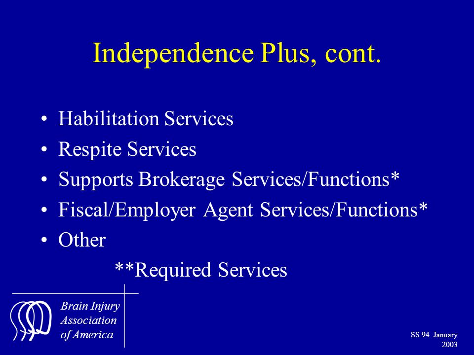 Brain Injury Association of America SS 94 January 2003 Independence Plus, cont.