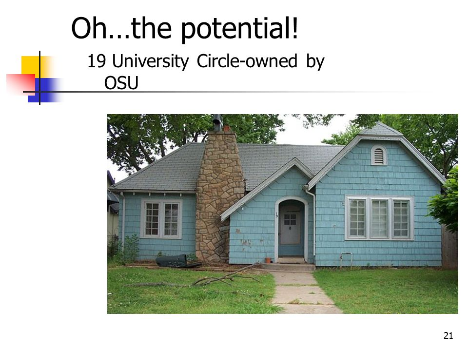 21 Oh…the potential! 19 University Circle-owned by OSU