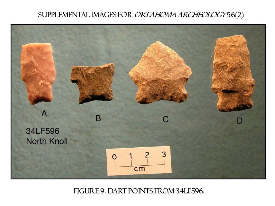Supplemental images for Oklahoma archeology 56(2) Figure 10. bifurcated-stem points from 34lf596.