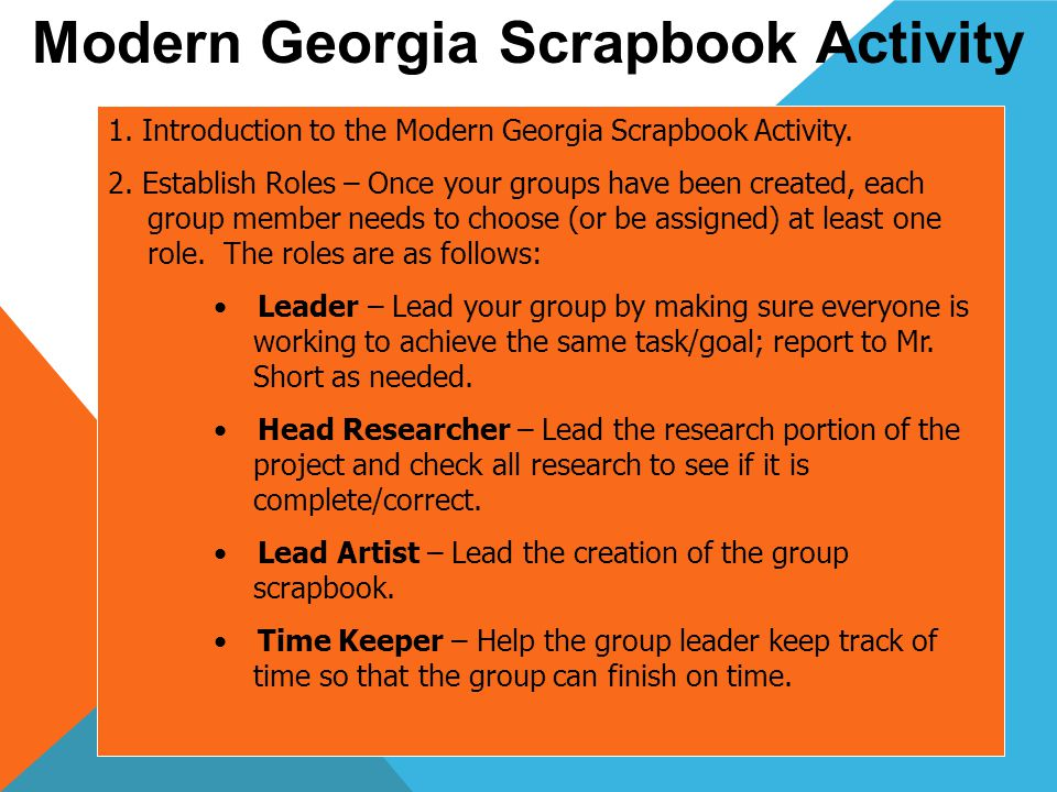 1. Introduction to the Modern Georgia Scrapbook Activity.