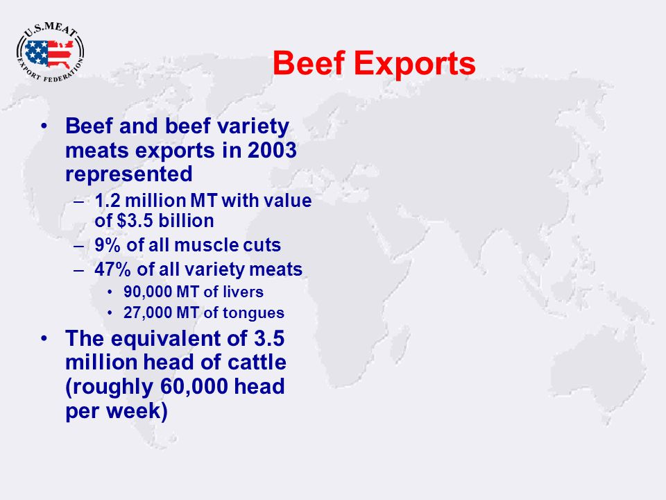 Beef Exports Beef and beef variety meats exports in 2003 represented –1.2 million MT with value of $3.5 billion –9% of all muscle cuts –47% of all var