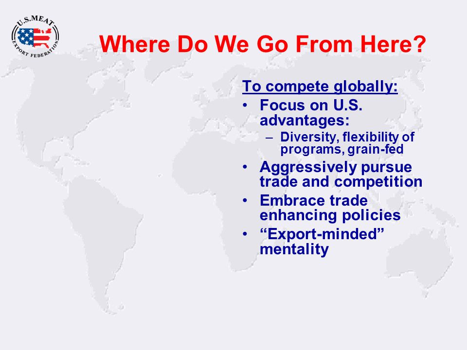 Where Do We Go From Here? To compete globally: Focus on U.S. advantages: –Diversity, flexibility of programs, grain-fed Aggressively pursue trade and