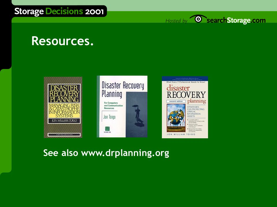 Resources. See also www.drplanning.org