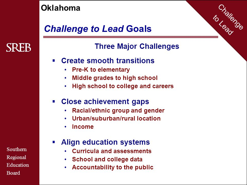 Challenge to Lead Southern Regional Education Board Oklahoma Challenge to Lead Goals Three Major Challenges  Create smooth transitions Pre-K to elementary Middle grades to high school High school to college and careers  Close achievement gaps Racial/ethnic group and gender Urban/suburban/rural location Income  Align education systems Curricula and assessments School and college data Accountability to the public