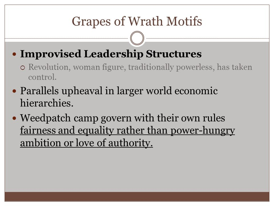 Grapes of Wrath Motifs Improvised Leadership Structures  Revolution, woman figure, traditionally powerless, has taken control.