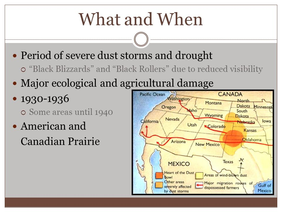 What and When Period of severe dust storms and drought  Black Blizzards and Black Rollers due to reduced visibility Major ecological and agricultural damage 1930-1936  Some areas until 1940 American and Canadian Prairie
