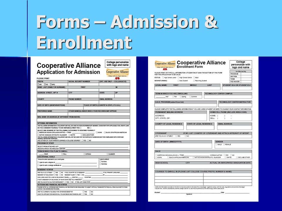 Forms – Admission & Enrollment