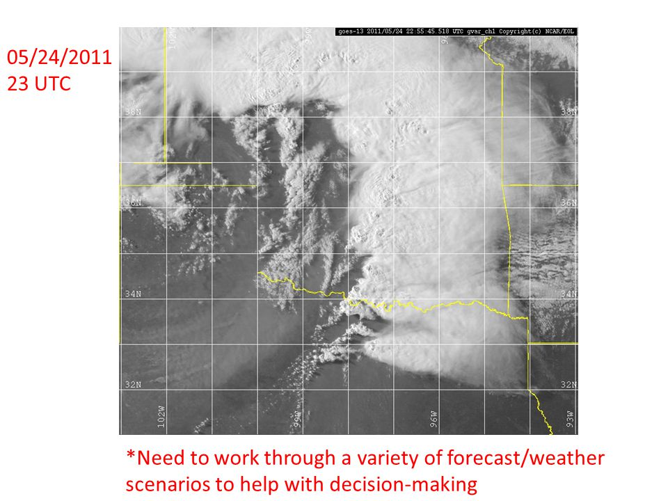 05/24/2011 23 UTC *Need to work through a variety of forecast/weather scenarios to help with decision-making