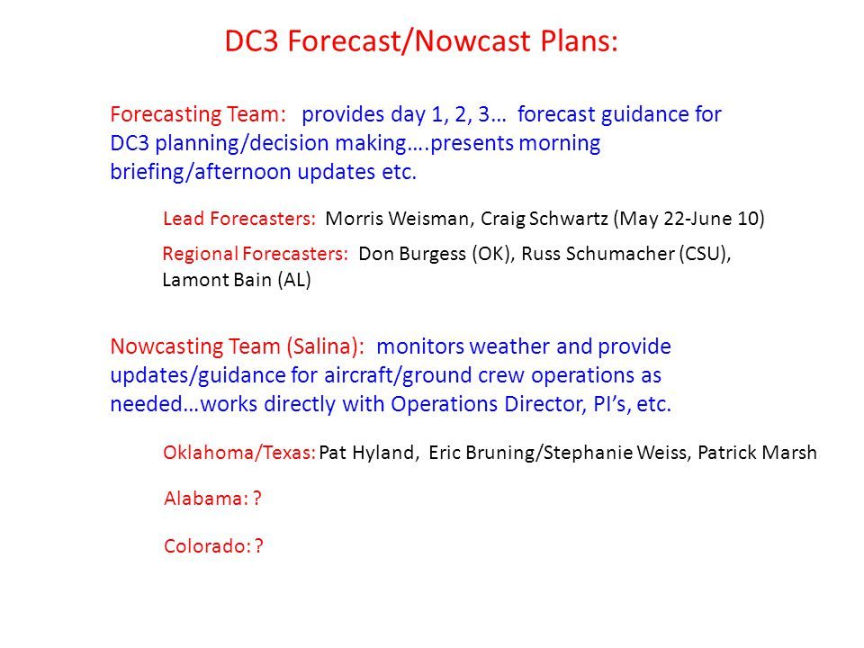 DC3 Forecast/Nowcast Plans: Lead Forecasters: Morris Weisman, Craig Schwartz (May 22-June 10) Regional Forecasters: Don Burgess (OK), Russ Schumacher (CSU), Lamont Bain (AL) Nowcasting Team (Salina): monitors weather and provide updates/guidance for aircraft/ground crew operations as needed…works directly with Operations Director, PI's, etc.