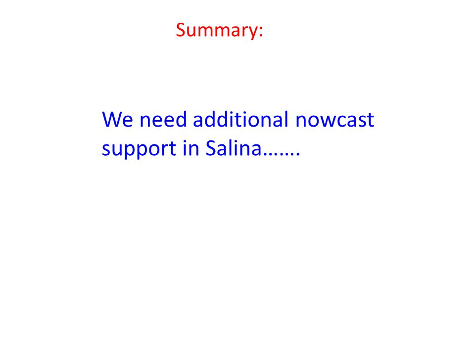 Summary: We need additional nowcast support in Salina…….