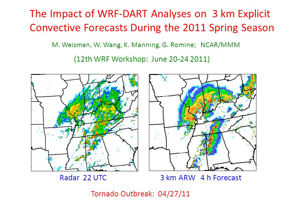 The Impact of WRF-DART Analyses on 3 km Explicit Convective Forecasts During the 2011 Spring Season M. Weisman, W. Wang, K. Manning, G. Romine; NCAR/M