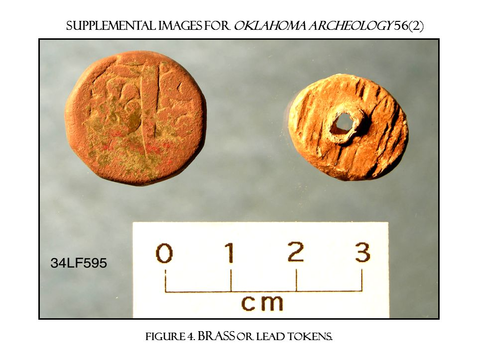 Supplemental images for Oklahoma archeology 56(2) Figure 4. brass or lead tokens.