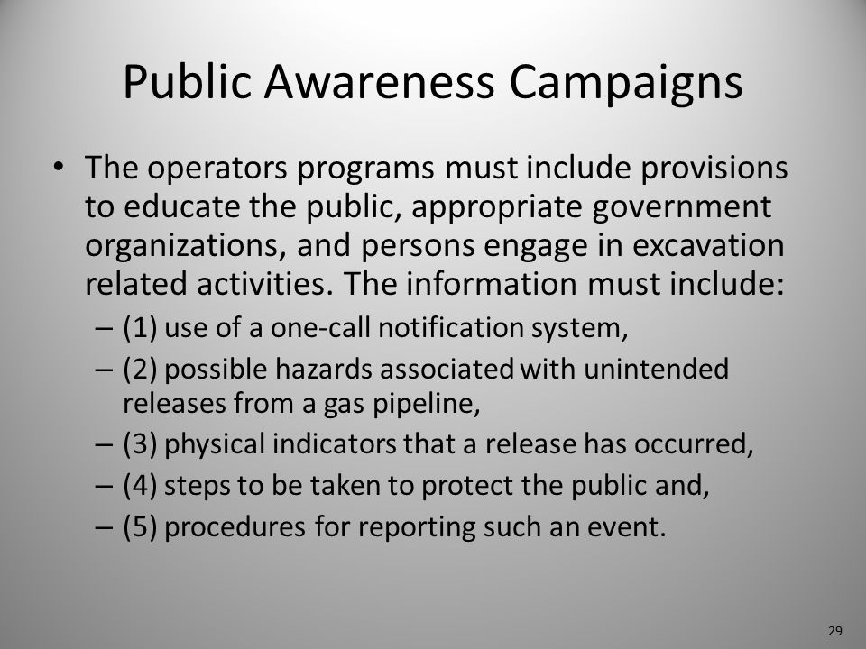 Public Awareness Campaigns The operators programs must include provisions to educate the public, appropriate government organizations, and persons engage in excavation related activities.