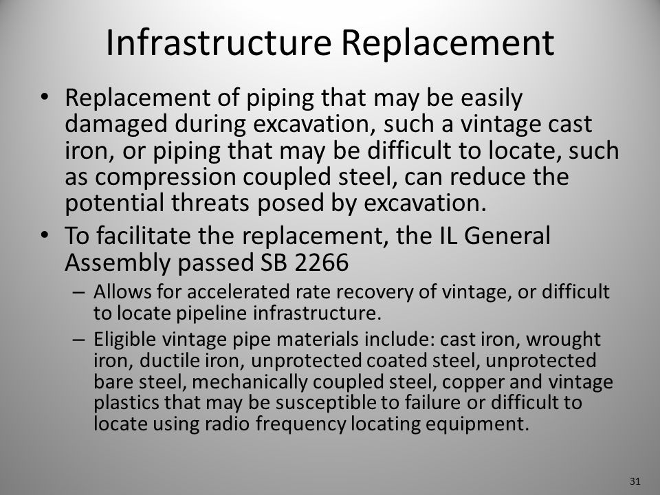 Infrastructure Replacement Replacement of piping that may be easily damaged during excavation, such a vintage cast iron, or piping that may be difficult to locate, such as compression coupled steel, can reduce the potential threats posed by excavation.