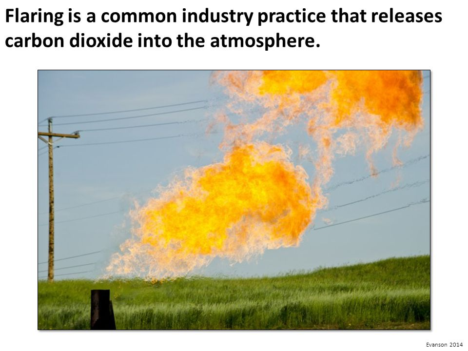 Flaring is a common industry practice that releases carbon dioxide into the atmosphere.