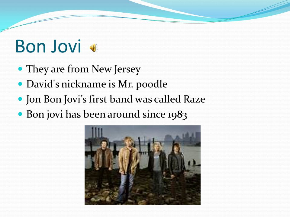 Bon Jovi They are from New Jersey David s nickname is Mr.