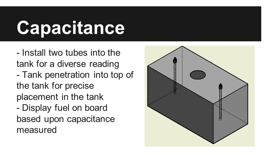 Capacitance - Install two tubes into the tank for a diverse reading - Tank penetration into top of the tank for precise placement in the tank - Displa