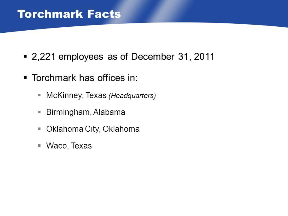 Torchmark Facts  2,221 employees as of December 31, 2011  Torchmark has offices in:  McKinney, Texas (Headquarters)  Birmingham, Alabama  Oklahoma City, Oklahoma  Waco, Texas