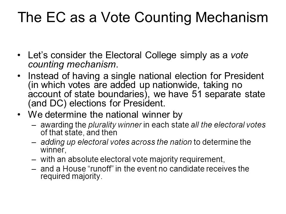 Historical Overview of EC as a Vote Counting System The following chart is a scattergram that plots the relationship between popular votes and electoral vote from 1928 through 2004.