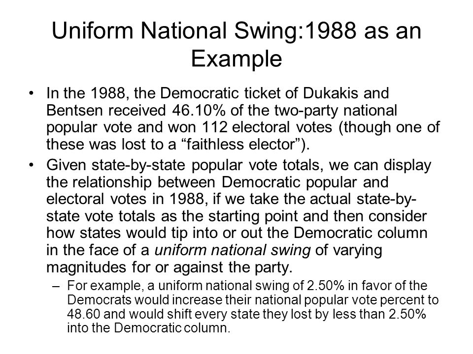 Uniform National Swing:1988 as an Example In the 1988, the Democratic ticket of Dukakis and Bentsen received 46.10% of the two-party national popular vote and won 112 electoral votes (though one of these was lost to a faithless elector ).