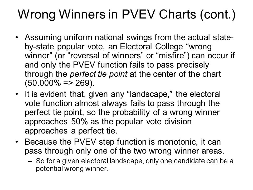 Wrong Winners in PVEV Charts (cont.) Assuming uniform national swings from the actual state- by-state popular vote, an Electoral College wrong winner (or reversal of winners or misfire ) can occur if and only the PVEV function fails to pass precisely through the perfect tie point at the center of the chart (50.000% => 269).