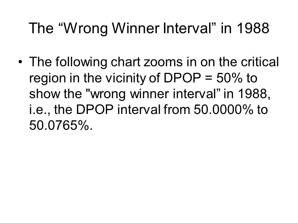 The Wrong Winner Interval in 1988 The following chart zooms in on the critical region in the vicinity of DPOP = 50% to show the wrong winner interval in 1988, i.e., the DPOP interval from 50.0000% to 50.0765%.