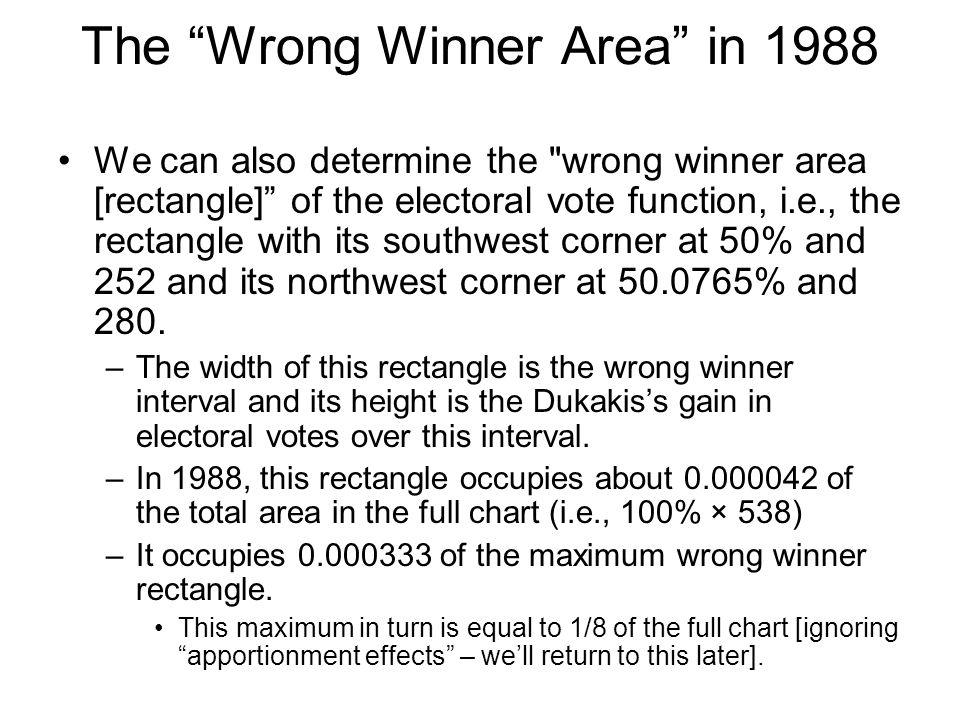 The Wrong Winner Area in 1988 We can also determine the wrong winner area [rectangle] of the electoral vote function, i.e., the rectangle with its southwest corner at 50% and 252 and its northwest corner at 50.0765% and 280.