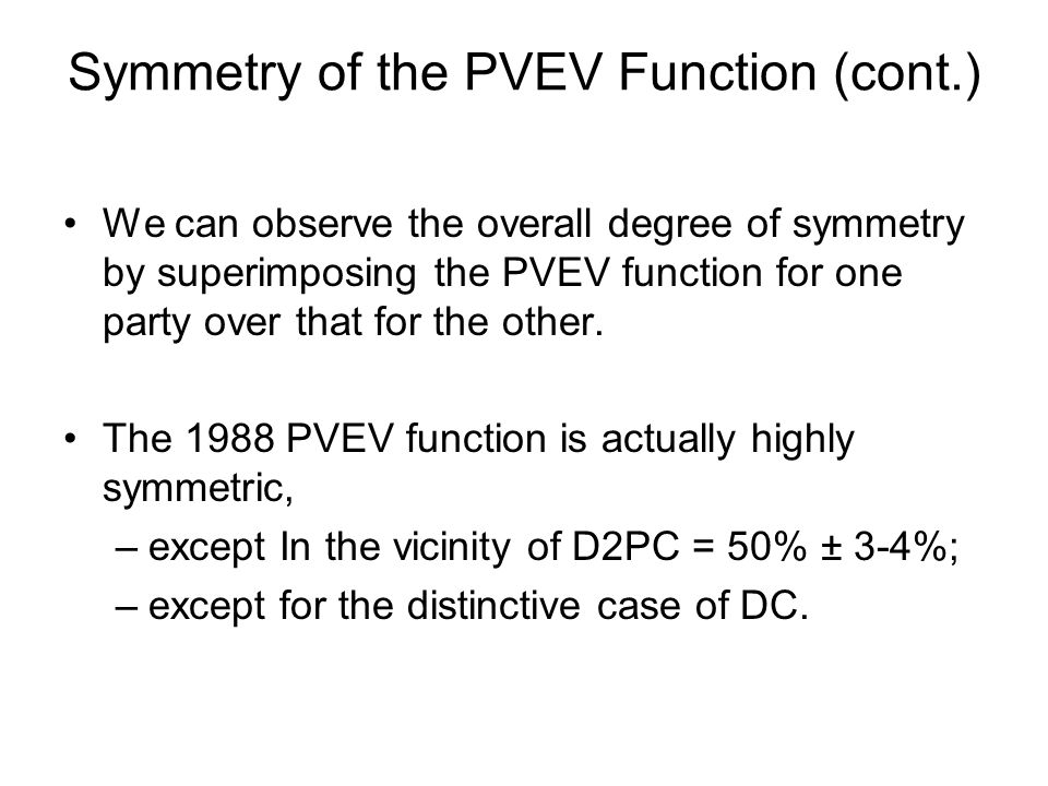 Symmetry of the PVEV Function (cont.) We can observe the overall degree of symmetry by superimposing the PVEV function for one party over that for the