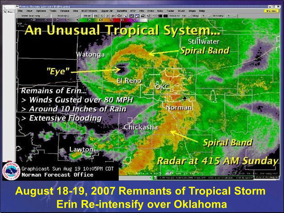 August 18-19, 2007 Remnants of Tropical Storm Erin Re-intensify over Oklahoma