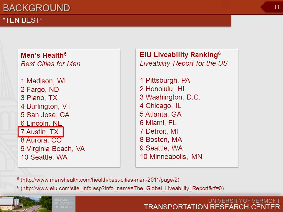 UNIVERSITY OF VERMONT TRANSPORTATION RESEARCH CENTER 11 BACKGROUND Men's Health 5 Best Cities for Men 1 Madison, WI 2 Fargo, ND 3 Plano, TX 4 Burlington, VT 5 San Jose, CA 6 Lincoln, NE 7 Austin, TX 8 Aurora, CO 9 Virginia Beach, VA 10 Seattle, WA TEN BEST 5 (http://www.menshealth.com/health/best-cities-men-2011/page/2) EIU Liveability Ranking 6 Liveability Report for the US 1 Pittsburgh, PA 2 Honolulu, HI 3 Washington, D.C.