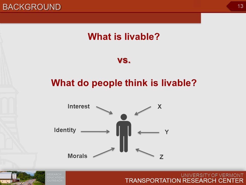 UNIVERSITY OF VERMONT TRANSPORTATION RESEARCH CENTER 13 BACKGROUND What is livable?vs.