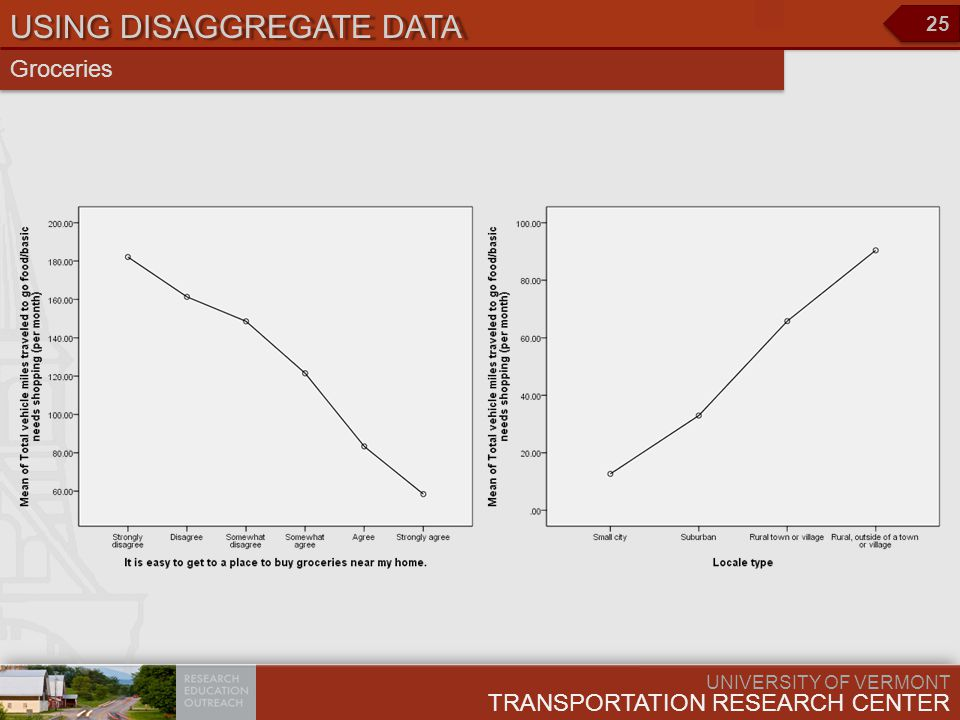 UNIVERSITY OF VERMONT TRANSPORTATION RESEARCH CENTER 25 USING DISAGGREGATE DATA Groceries