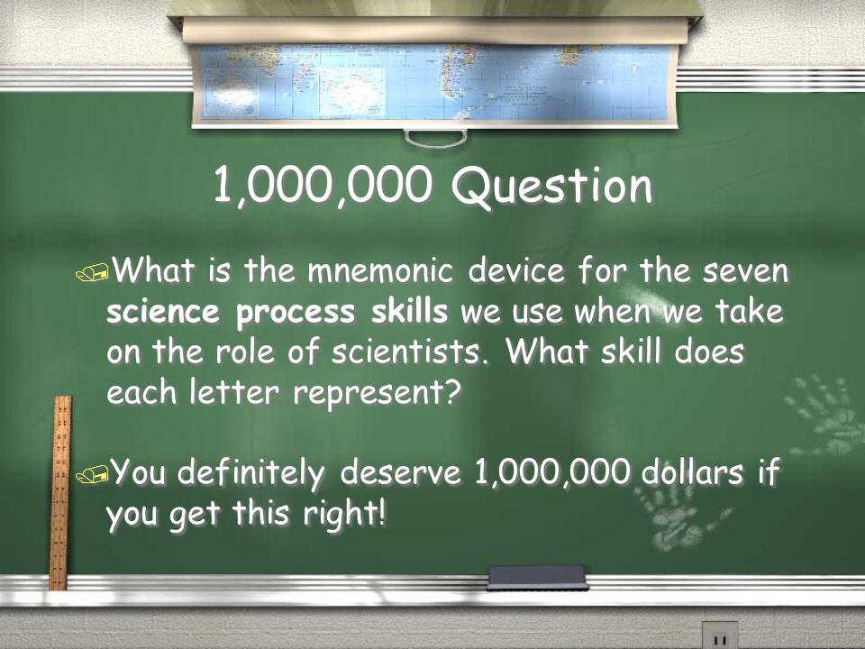 Million Dollar Question Topic Science Process Skills