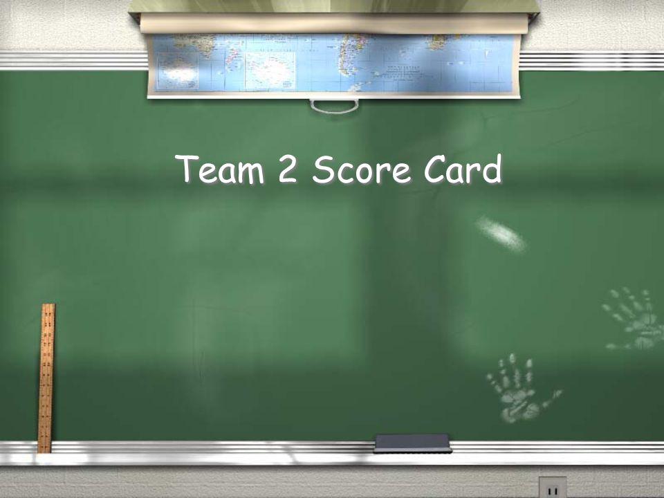 Team 1 Score Card
