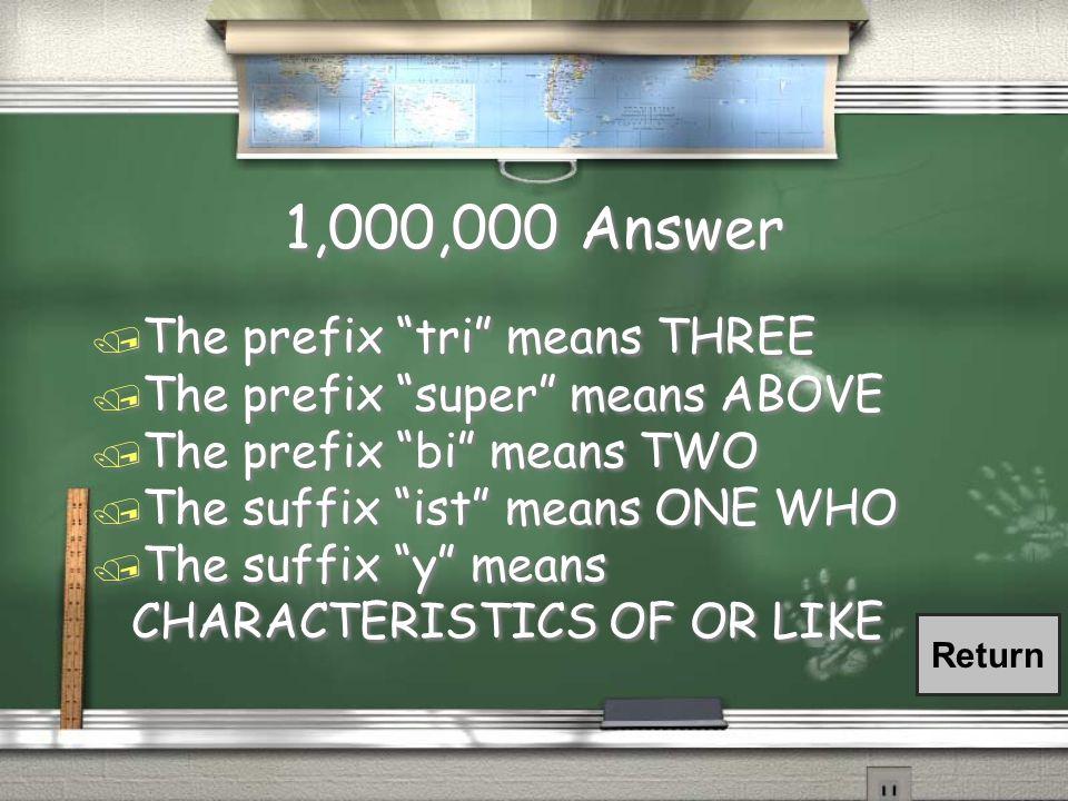 1,000,000 Question / The prefix tri means _________ / The prefix super means _______ / The prefix bi means __________ / The suffix ist means __________ / The suffix y means ___________ / The prefix tri means _________ / The prefix super means _______ / The prefix bi means __________ / The suffix ist means __________ / The suffix y means ___________