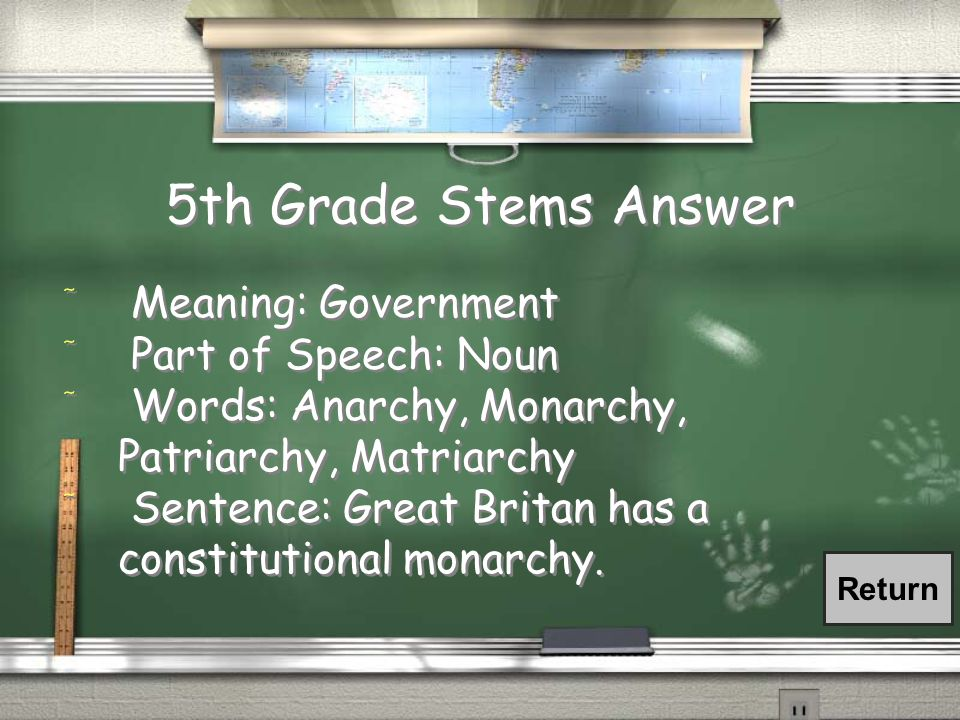 5th Grade Stems Answer / Meaning: Government / Part of Speech: Noun / Words: Anarchy, Monarchy, Patriarchy, Matriarchy / Sentence: Great Britan has a constitutional monarchy.