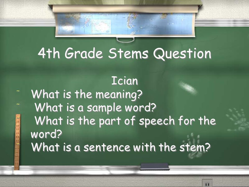 4th Grade Stems Answer / Meaning: Kill / Part of Speech: Noun / Words: Herbicide, Homicide, Genocide, Suicide / Sentence: Adolf Hitler genocided Jews / Meaning: Kill / Part of Speech: Noun / Words: Herbicide, Homicide, Genocide, Suicide / Sentence: Adolf Hitler genocided Jews Return