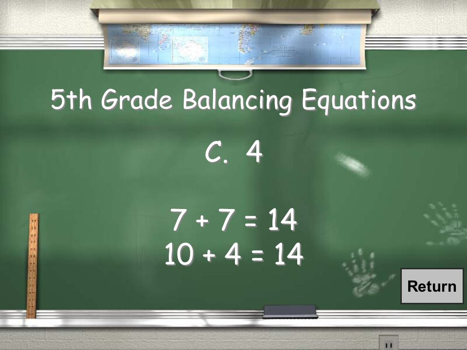 5th Grade Balancing Equations What number goes in the to balance the scale.