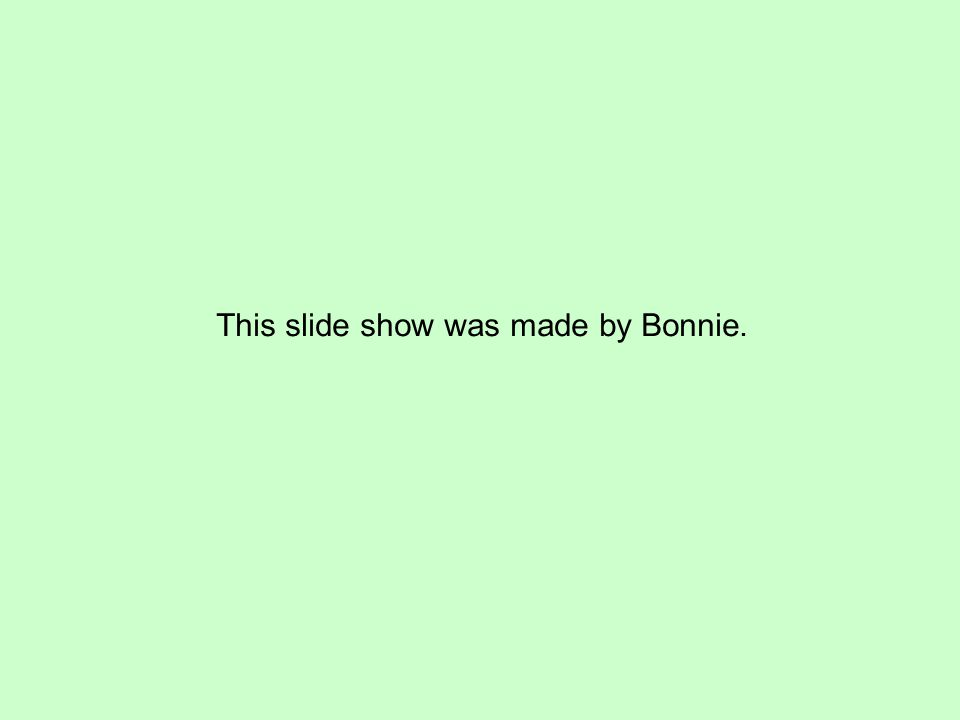 This slide show was made by Bonnie.