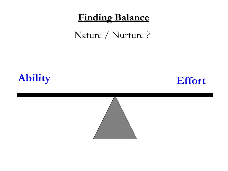 Finding Balance Ability Nature / Nurture Effort