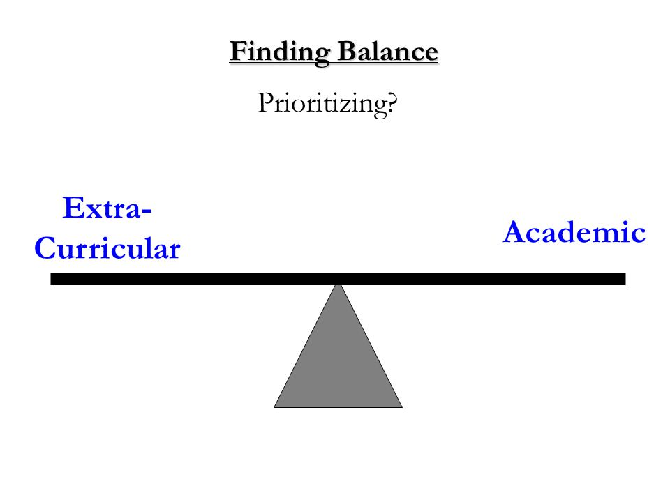 Finding Balance Extra- Curricular Academic Prioritizing