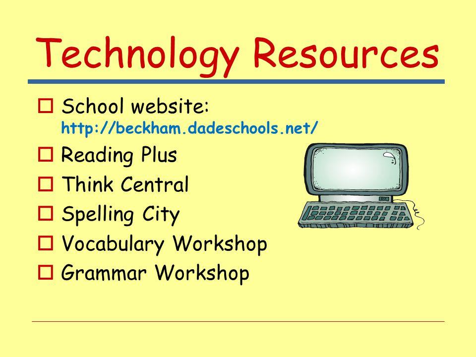 Technology Resources  School website: http://beckham.dadeschools.net/  Reading Plus  Think Central  Spelling City  Vocabulary Workshop  Grammar Workshop