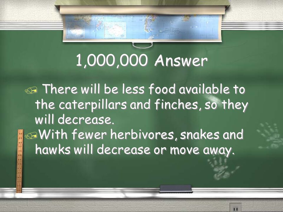 1,000,000 Question / Describe two ways the emerald ash borer will influence the food web.