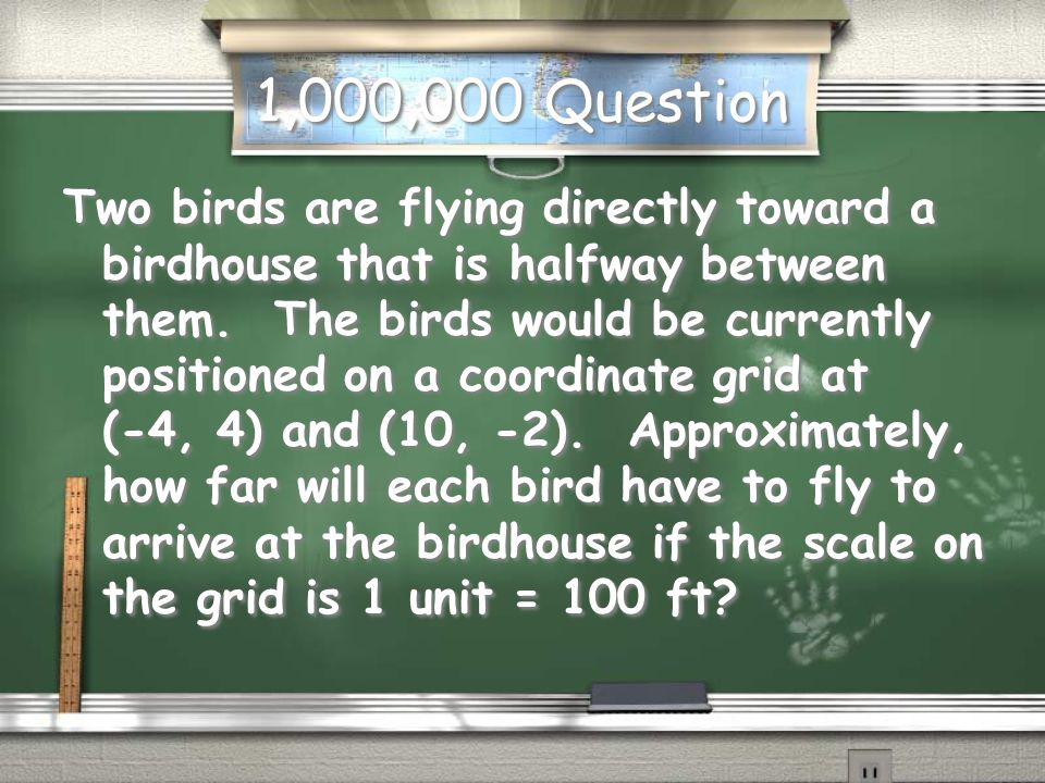 Million Dollar Question Formulas