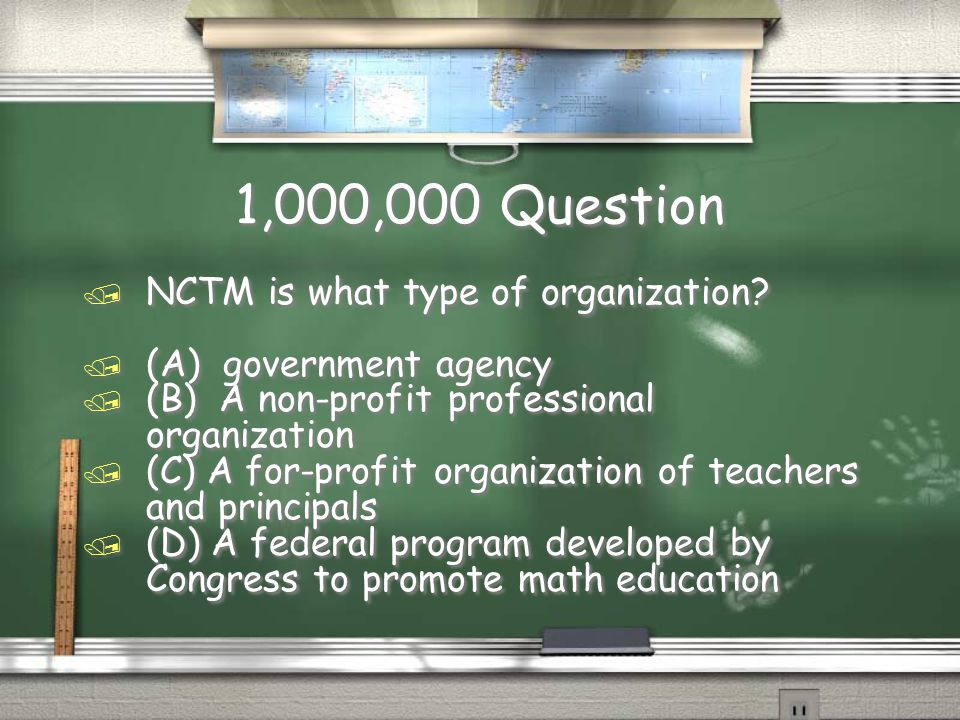 Million Dollar Question Grade Level Topic 11 / The most common borrowing problems students have involve / (A) numbers in the millions / (B) the numeral zero / (C) failure to carry properly / (D) the numerals 6 and 9 / The most common borrowing problems students have involve / (A) numbers in the millions / (B) the numeral zero / (C) failure to carry properly / (D) the numerals 6 and 9