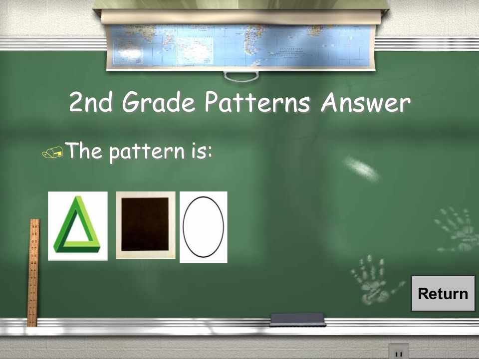 2nd Grade Patterns Question / What are the next three shapes in this pattern