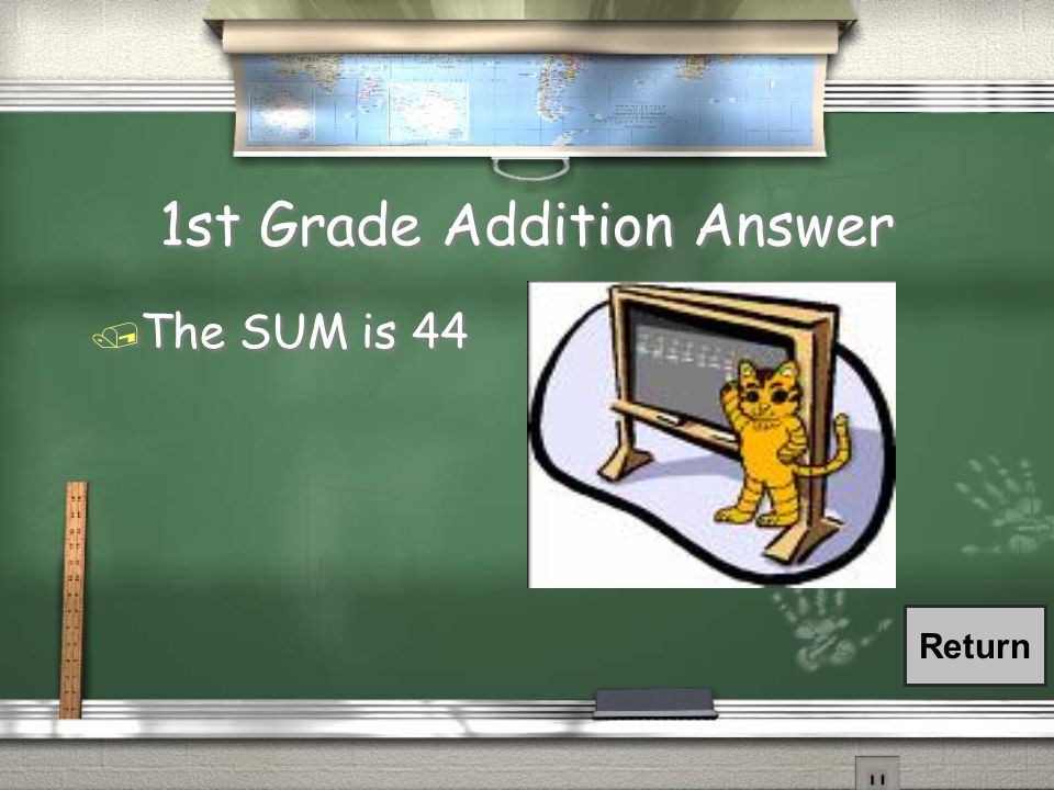 1st Grade Addition Question / What is the sum of the following numbers.