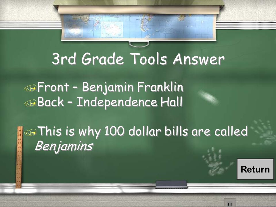 3rd Grade Tools Question / What is on the front and back of the Hundred Dollar Bill ~ $100
