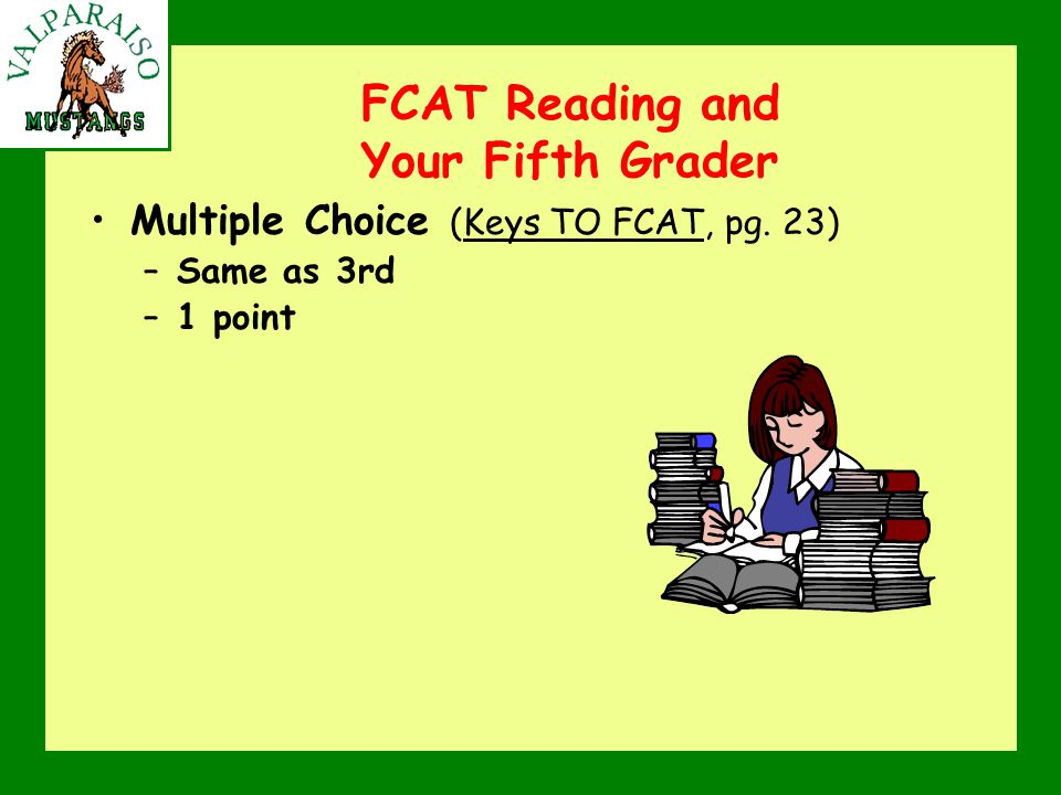 FCAT Reading and Your Fifth Grader Multiple Choice (Keys TO FCAT, pg. 23) –Same as 3rd –1 point