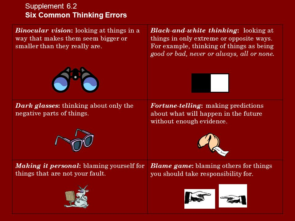 Supplement 6.3 Situations and Thinking Errors 1.Dakota's parents are getting a divorce.